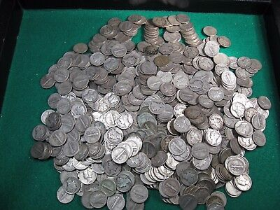 51 (Full Roll + 1) Silver US MERCURY Dimes. Mixed Dates. From 800 coin pile.