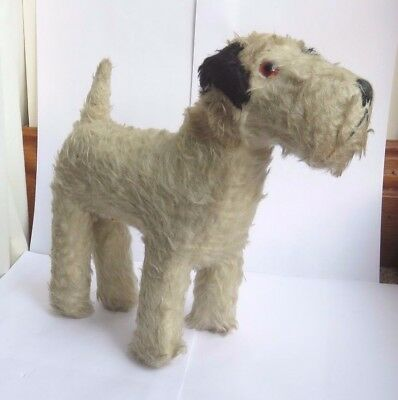 Antique Vintage 1930's Chiltern White Terrier Dog With Black Ears Soft Toy