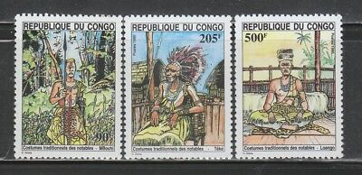 Congo #1078A-C MNH 1995 Nobleman Traditional Costumes NICE & SCARCE!