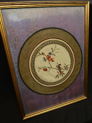 Antique Chinese Silk Embroidery Embroidered Panel NO RESERVE.