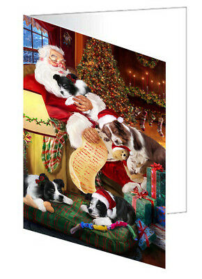 Border Collie Dogs with Santa 10 Greeting Cards