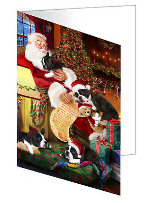 Boston Terrier Dogs with Santa 10 Greeting Cards