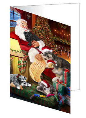 Schnauzer Dogs with Santa 10 Greeting Cards