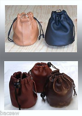 Black /tan Leather Chalk Ball/ Bag Pouch Draw Up *new * Other Colour Options