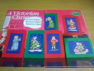 Cross Stitch Chart 6 Victorian Style Children Scene Christmas  Card  Charts