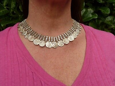 Antique Asian Ethnic Indian Kutch Silver Wedding Necklace Estate Jewelry