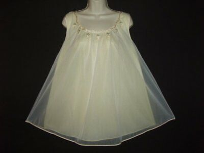 Vtg Pristine Wht Over Yellow Chiffon Satin Rosebud Applique Babydoll Nightgown M