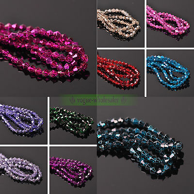Wholesale 6mm 50/200pcs Crystal Glass Faceted Bicone Hematite Loose Spacer Beads