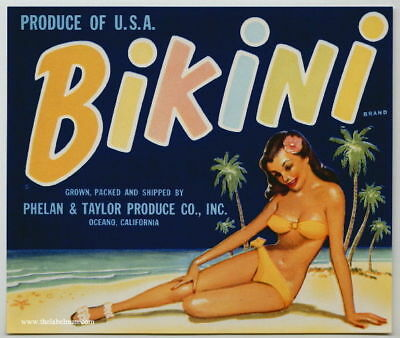 BIKINI Vintage Vegetable Crate Label, Pinup Girl, Beach ***AN ORIGINAL LABEL***