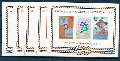 [H0914] Sao Tome & Principe 1982 Scouting good Very Fine MNH imperf. sheet x5
