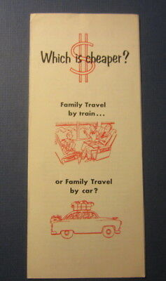 Old Vintage - PENNSYLVANIA Railroad - Travel by Train vs. by Car COSTS Brochure