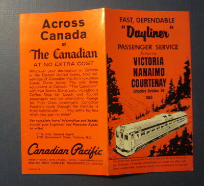 Old Vintage 1963 Canadian Pacific Railroad - DAYLINER - Train Service Brochure