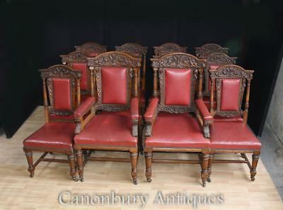 Set 12 Antique Oak Carved Dining Chairs in Gillows Manner 1870