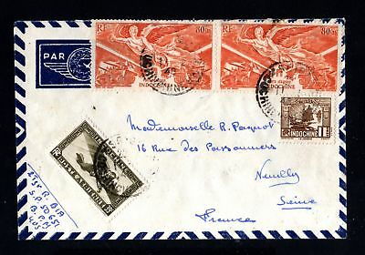 17535-INDOCHINA-AIRMAIL COVER SAIGON to NEUILLY (france).1948.WWII.Indochine.