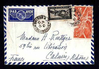 17536-INDOCHINA-AIRMAIL COVER SAIGON to CALUIRE (france).1947.WWII.Indochine.