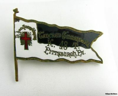 Knights Templar - York Rite Flag Pin Vintage Masonic Member Tancred Commandery