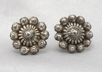 Antique 833 SILVER Cannetille Filigree COLLAR BUTTONS Zeeuwse Knop Knoop Dutch