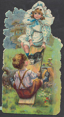 S8329 Victorian Die Cut Scraps: Large Children on See Saw