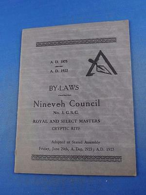 By-Laws Nineveh Council Royal And Select Masters Cryptic Rite 1923 Ontario