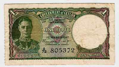 1941 - Goverment Of Ceylon One Rupee #34 -Vf