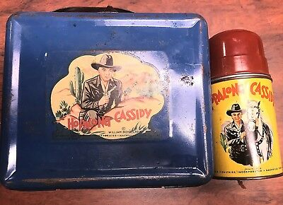 Vintage 1950's Hopalong Cassidy Metal Lunch Box With Thermos Blue RARE 1950's