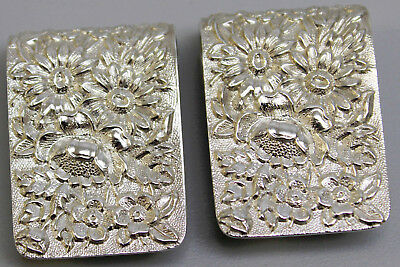 2 Vintage S Kirk & Son Sterling Silver Repousse Napkin Clips 17F w/Names