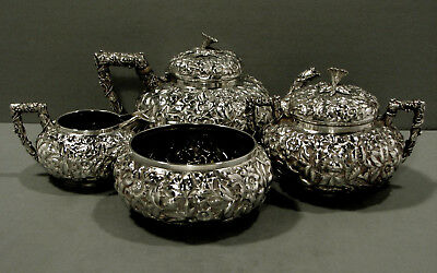 Gorham Sterling Tea Set    c1880     * Floral Leaf & Berry Handles *      69 Oz.