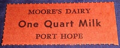 BR2075 Vtg Port Hope ON Moore's Dairy Quart Milk Ticket