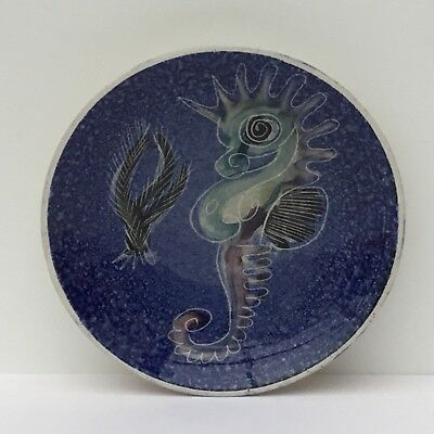 Isle of Wight Studio Pottery, Seahorse Dish C1960s Hand Painted by Jo Lester