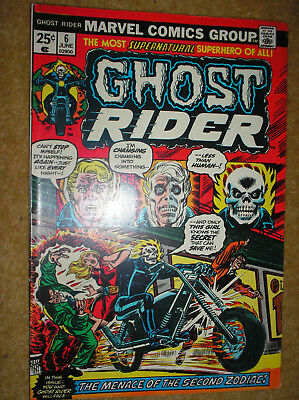 GHOST RIDER # 6 ZODIAC MOONEY 25c 1974 BRONZE AGE SUPERNATURAL MARVEL COMIC BOOK