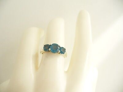 Vintage Sterling Silver Ring With Three Blue Stones, Small Size I1/2
