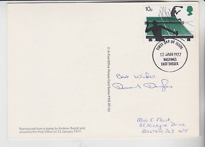 Gb Stamps Sports Phq Card Signed By Table Tennis Star Desmond Douglas