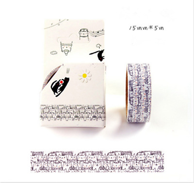 NEW Design 15mm×5M DIY paper Sticky Adhesive Sticker Decorative Washi Tape HOT