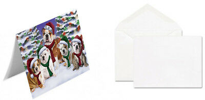 Bulldogs Dog Christmas Scenic Background 10 Greeting Cards
