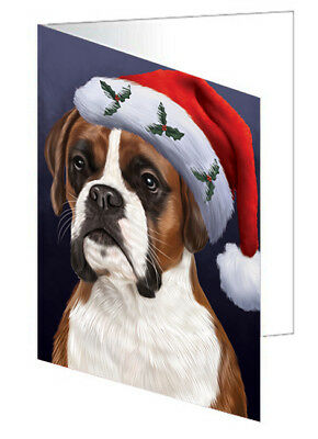 Christmas Boxers Dog with Santa Hat  10 Greeting Cards