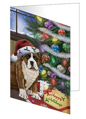 Christmas Boxers Dog with Tree and Presents 10 Greeting Cards