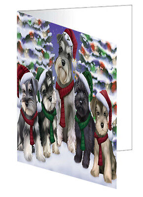 Schnauzers Dog Christmas Scenic Background 10 Greeting Cards
