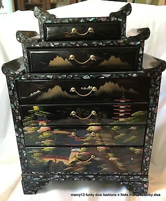 Lovely Vintage Black Lacquer Hand Painted w Abalone 6 Drawer Jewelry Chest Japan