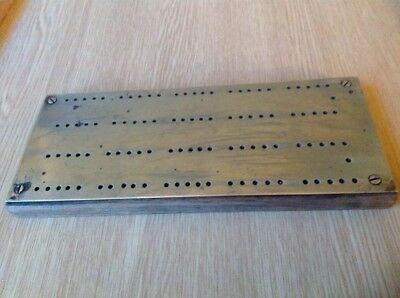 Vintage brass and wood cribbage Score Board /peg Board