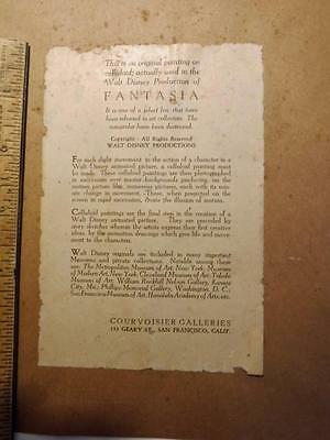 Courvoisier Gallery Fantasia Disney Certificate of Authenticity 1940 used