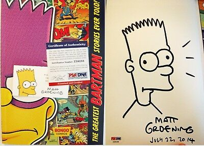 Drawing Hand Signed Matt Groening Simpsons Business Card Comic Con 2014 PsA DnA