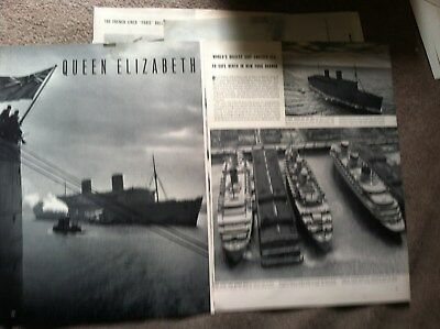 "SS NORMANDIE QUEEN ELIZABETH QUEEN MARY NYC PIER ARTICLE  10x14"" MAGAZINE"