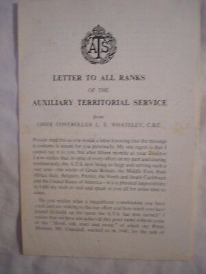 ATS Letter Whateley Farewell British Army Women History WRAC