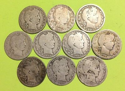 Lot of Ten (10) Barber Quarters, Most Have Problems