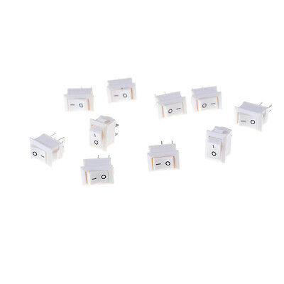 10pcs 2pins KCD11 On/Off 3A 250V 15x10mm Rockers Power Switch White FG