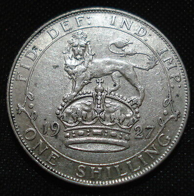 1927 George V Silver Shilling Decent Condition For 90 Year Old Coin