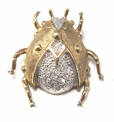 375 9ct YELLOW GOLD Beetle Pendant With 14 DIAMONDS, 4.45g - H21