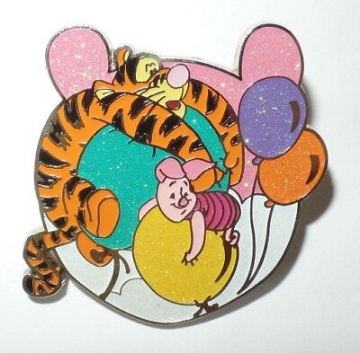 Disney HKDL Mini Starter Winnie the Pooh Head Tigger & Piglet with Balloons Pin
