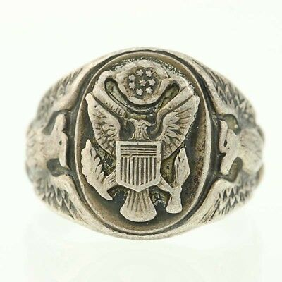 Vintage Army Ring - US Military Sterling Silver Size 8 Eagle Crest