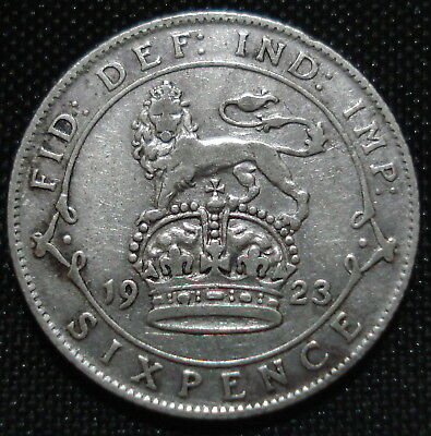 1923 George V Silver Sixpence Decent Condition For 94 Year Old Coin